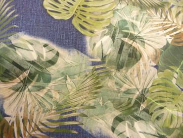 Baumwolle, Jeansoptik, Blätter, Grün, Blau, Creme, Meterware – Bild 2