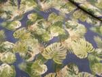 Baumwolle, Jeansoptik, Blätter, Grün, Blau, Creme, Meterware 001