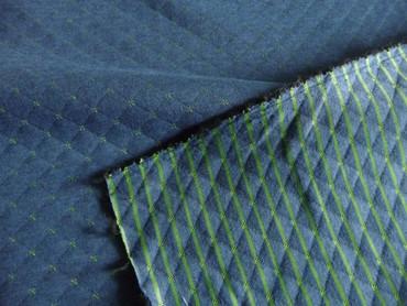 Sweatshirtstoff, Jersey, gesteppt, blau, grün