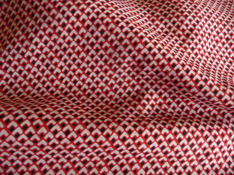 Viskosestoff, Burda Style, Beige, Rot, schwarz, Herzen
