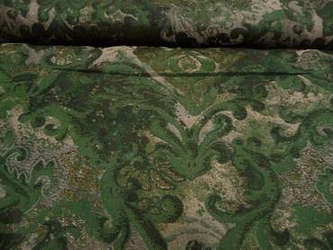 Polyesterstoff, Burda Style, Grün, Silber, Jacquard, Ornamente – Bild 1