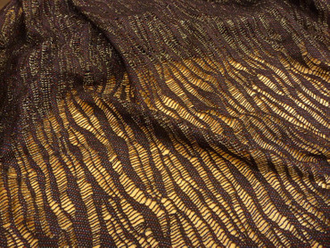 Polyesterstoff, Burda Style, Netz, Strick, Metall, gold, schwarz, rot – Bild 1