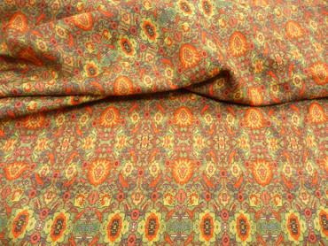 Viskosestoff, Wolle, Blumenmuster, grafisches Muster, Folkloremuster