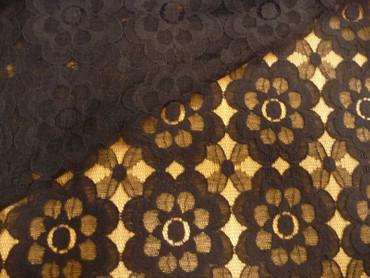 Spitze, Baumwollspitze, italienischer Spitzenstoff, Blumenmuster, Schwarz