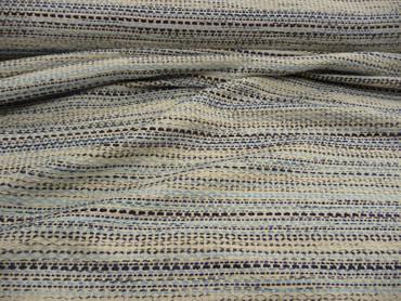 Baumwolle, grob gewebt, Metallfaden, Creme, Blau, Silber, Meterware – Bild 2