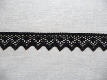 Borte,Band,Baumwolle, mercerisiert,Zacken,Schwarz,3,5 cm breit,gehäkelt,Trachten – Bild 3