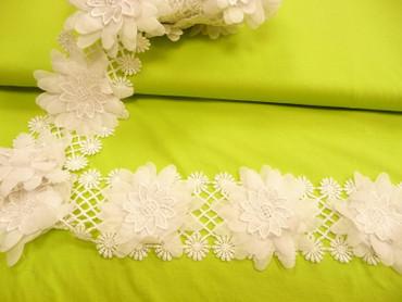 Blumenband, Weiß, plastische Blumen, 8 cm breit, Meterware, ausgefallen – Bild 2