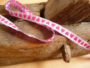 Webband, Herz, Pink, Weiß, Band, Bänder, Borte, Weiß, 12 cm breit