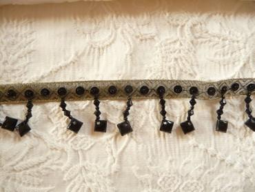Band, Gold, Schwarz, Perlenstränge, Bänder, Borte – Bild 2