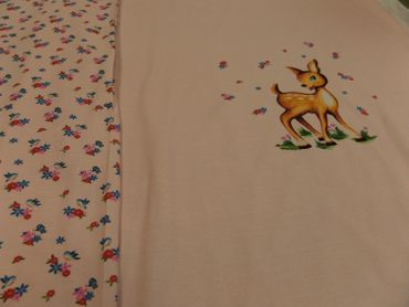 "Kinderstoff  ""Deer Story"" Feinjersey BW /EL 155 cm br.. je 50 cm. – Bild 2"