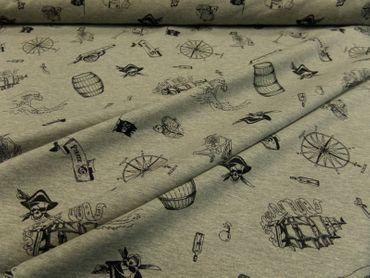 """Hilco Kleiderstoff """"Skulls & Pirates"""" 165 cm br.  Feinjersey BW-Mischg.je 50 cm – Bild 2"""