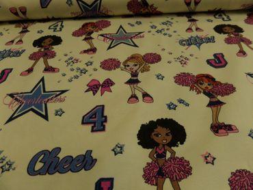 "Hilco Kinderstoff ""Cheer girls"" je 50 cm 150 cm br. BW-Jersey – Bild 1"