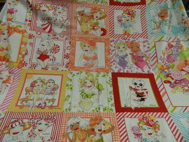 "Patchworkstoff ""Sweetie"" by Loralie   60x110 cm 100%BW mehrfarbig m.Motiven"