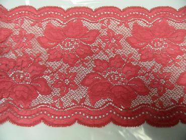 Spitzenband elastisch  ca. 13  cm breit je 50 cm himbeere BW-Mischung – Bild 2