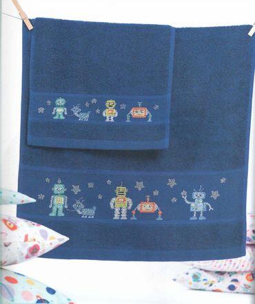Handtuch z.Sticken v. Rico Design aus Buch 154    dunkelblau – Bild 1