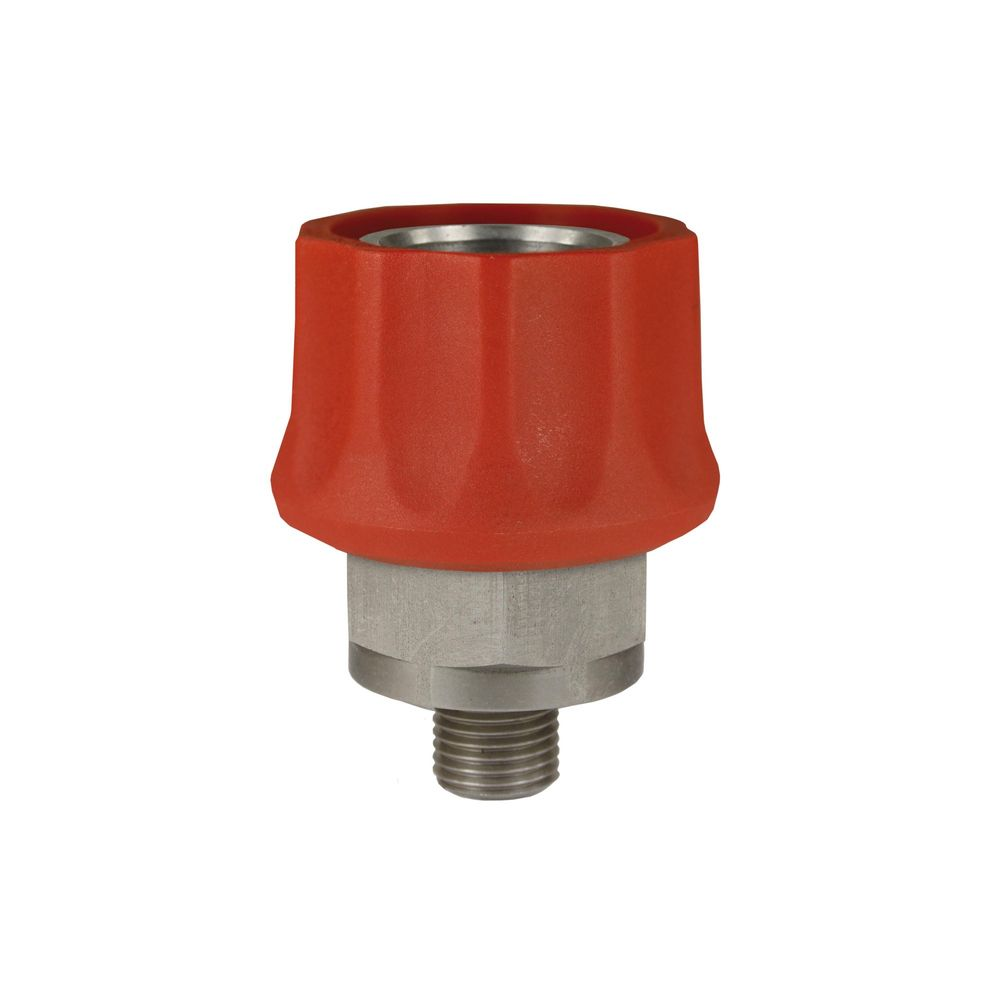 "Schnellkupplung ST-45 rot, DN=10mm, E=1/4"" AG, max. 250bar, max. 150°C, Edelstahl"