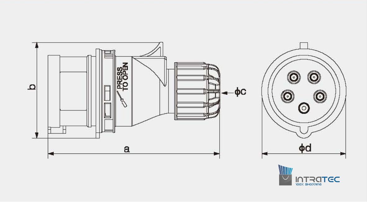 CEE-Steckdose 16A 400V 6h IP44 5-polig Industriequalität CE SB 3P+N+E