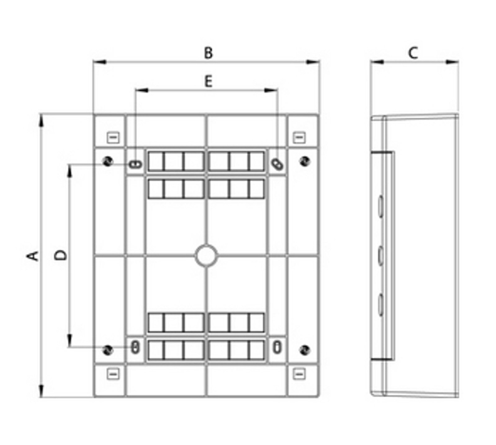 Weiße Tür ALFA Sicherungskasten Aufputz 2-reihig IP40 für 24 Module