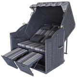 Bild 2 - Strandkorb XL Priess ✔ 2-Sitzer ✔ XL ✔ grau-olive ✔ Polyrattan - XINRO