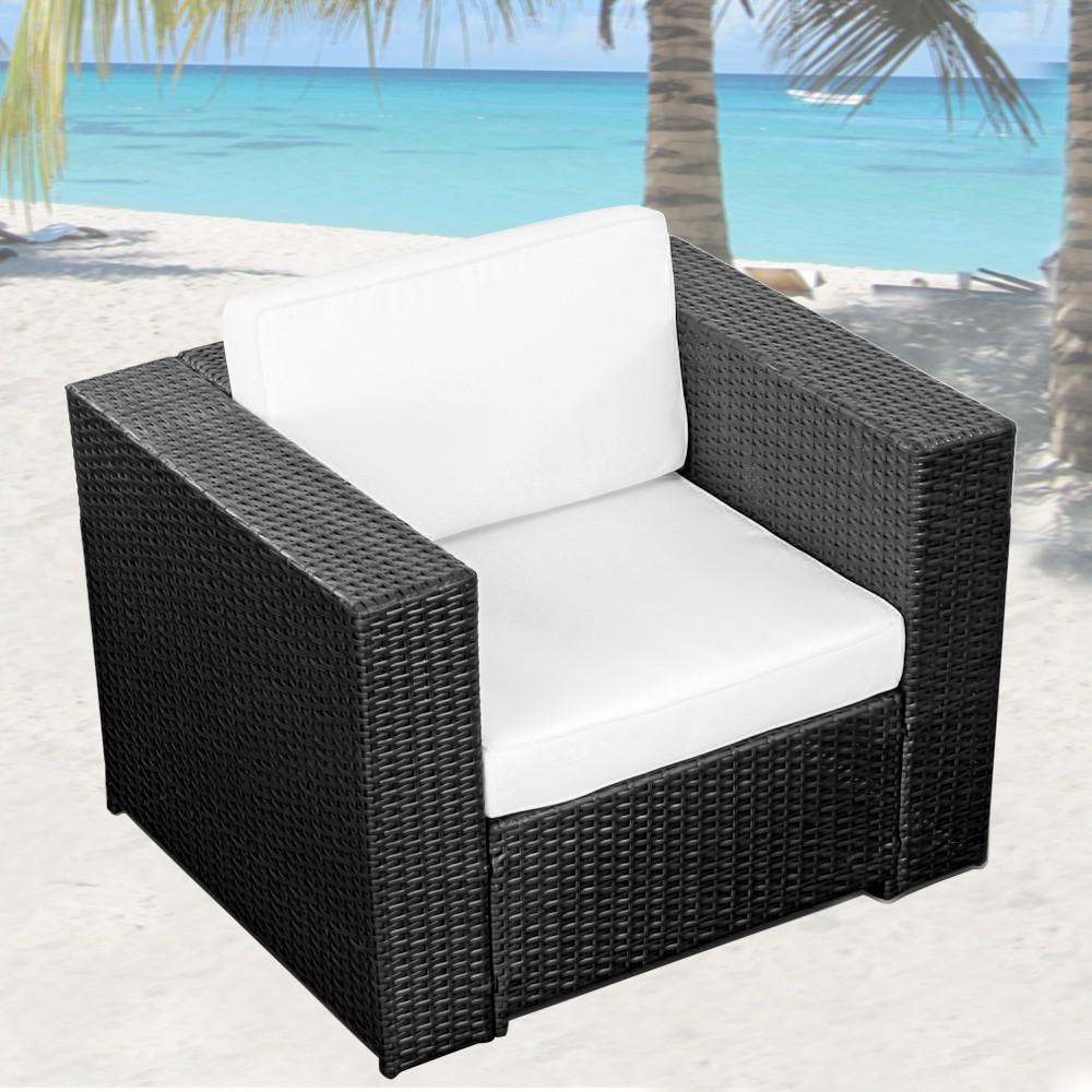 3tlg 1er Lounge Sessel günstig Gartenmöbel Polyrattan anthrazit Lounge Sessel Sofa