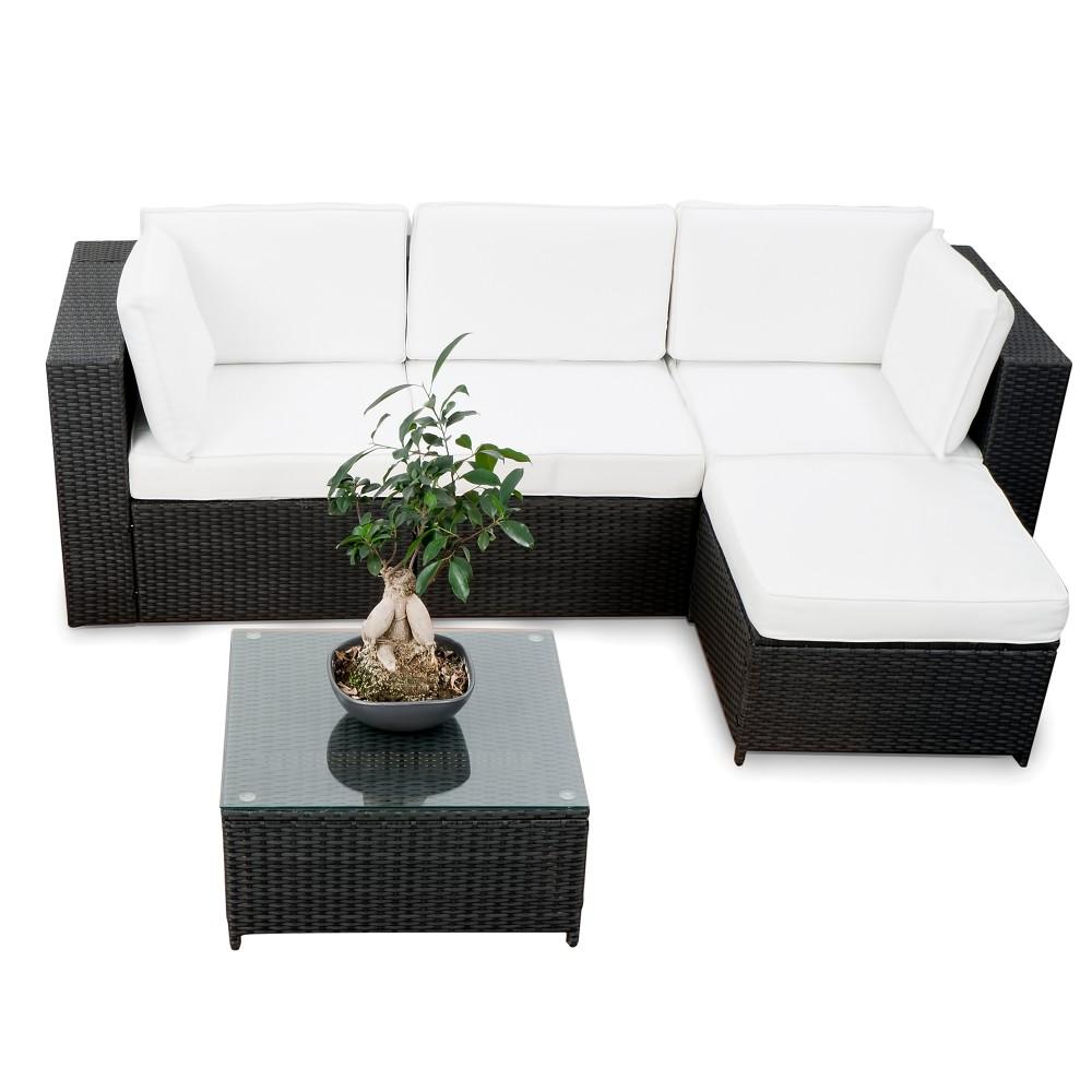 modulares 15tlg gartenm bel balkon polyrattan lounge ecke. Black Bedroom Furniture Sets. Home Design Ideas