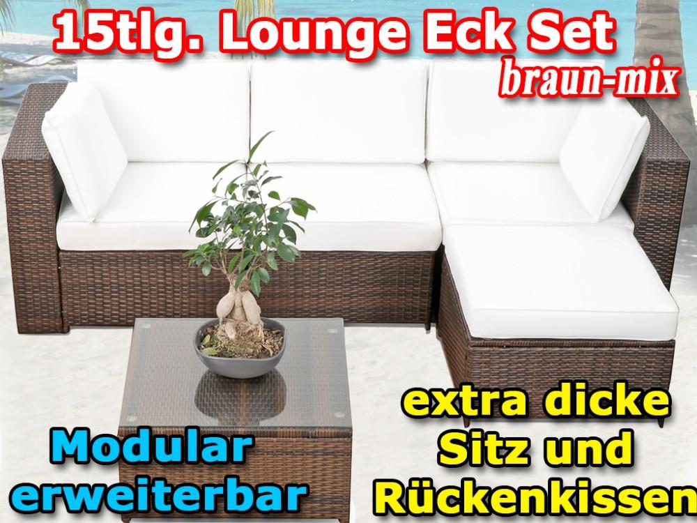Modulares 15tlg Gartenmobel Balkon Polyrattan Lounge Ecke Braun