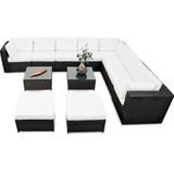 lounge set loungemöbel set S0053220 sonnenuntergang markise sonne abdeckung sommerzeit rattan 35tlg. xinro