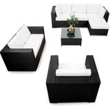 sitzgruppe rattan S1112110 braun loungeset markise rasenkanten couch gartenmöbel 23tlg. xinro