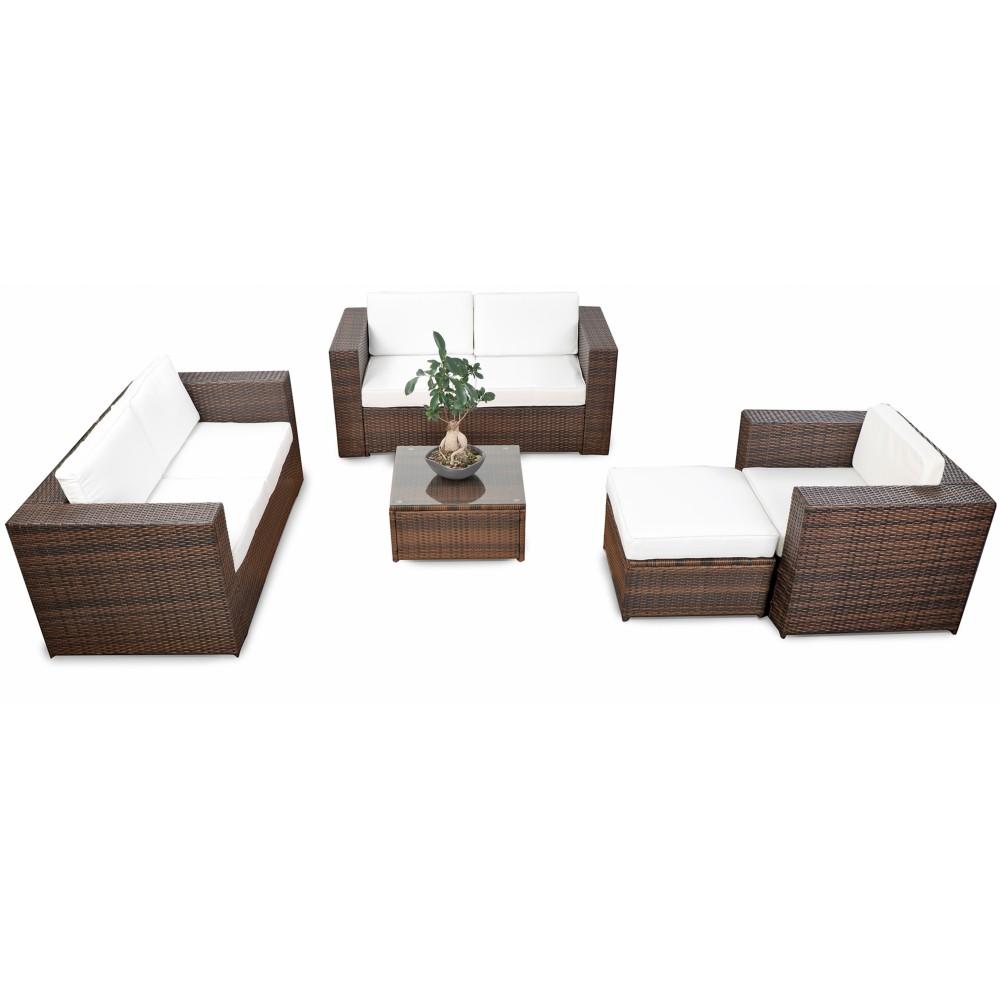 modulares 17tlg gartenm bel rattan lounge set xxl braun. Black Bedroom Furniture Sets. Home Design Ideas