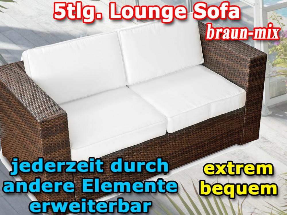 5tlg. (2er) Polyrattan Gartenmöbel Lounge Sofa - braun-mix