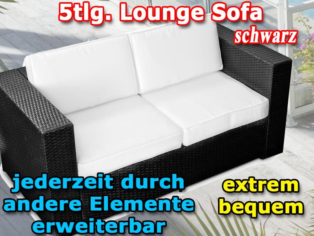 5tlg 2er Polyrattan Lounge Sofa Gartenmöbel Xinro Anthrazit