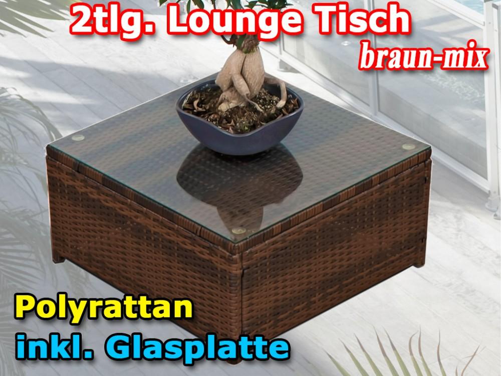 Polyrattan Tisch Mit Glasplatte.2tlg Polyrattan Gartenmöbel Loungetisch Inkl Glasplatte Braun Mix
