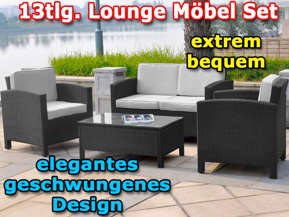 13tlg Xinro Polyrattan Lounge Set Gartenmöbel Polyrattan Set