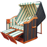 Bild 2 - Strandkorb Balkon ✔ 2-Sitzer ✔ XL ✔ Grün-weiss ✔ PE-Rattan - XINRO