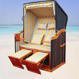 Bild 5 - Strandkorb Binz ✔ 2-Sitzer ✔ XL ✔ gelb-blau ✔ PE-Rattan - XINRO