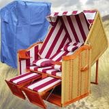 Bild 3 - Strandkorb Volllieger ✔ 2-Sitzer ✔ XL ✔ rot-weiss ✔ PE-Rattan - XINRO