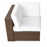 Bild 7 - 15-tlg Balkon Lounge Set Polyrattan ✔ XXL ✔ braun - XINRO