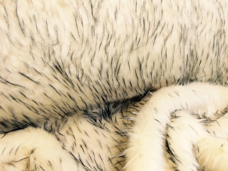 Kuschelig Langhaar Kunstfell Webpelz Stoff Creme Jacke Decke Teppich Deko Nr.9