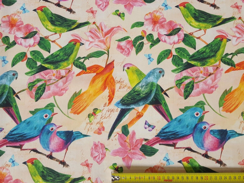 Stoffe Baumwolle Panamabindung Digitaldruck Deko Patchwork Gardine Papagei Nr21