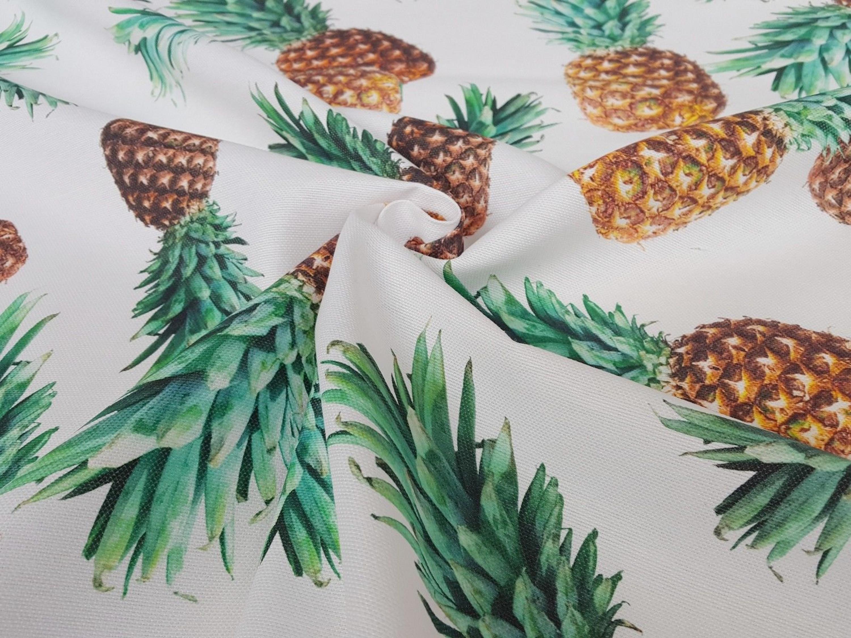 Stoffe Baumwolle Panamabindung Digitaldruck Deko Patchwork Gardine Ananas Nr.5