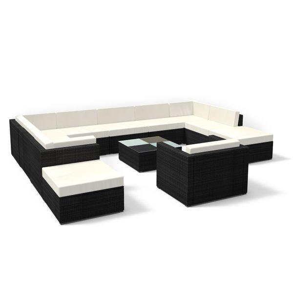 Rattan Gartenmöbel Lounge Set xxl in Schwarz - Gemütliche 12-teilige Sitzgruppe für Garten und Terrasse, Polyrattan Gartengarnitur inkl. Tisch und Sessel
