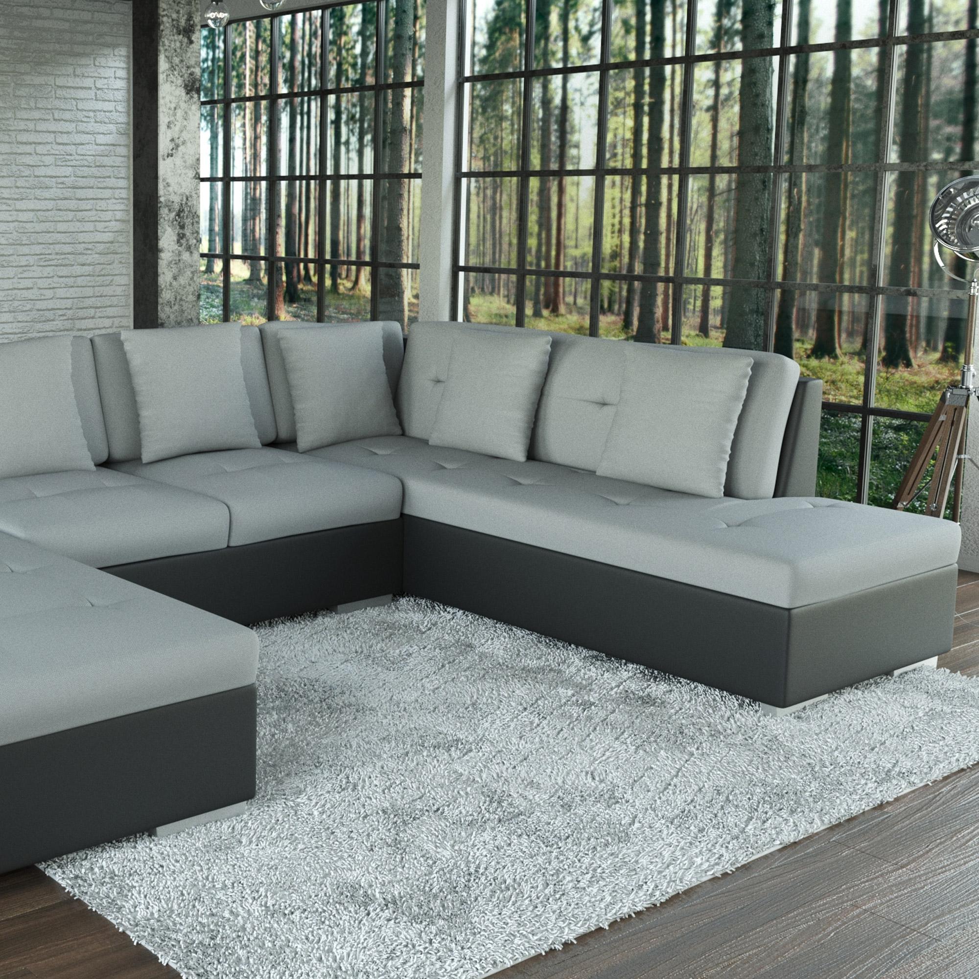 Sofa galera schwarz grau ecksofa wohnlandschaft u form for U couch grau