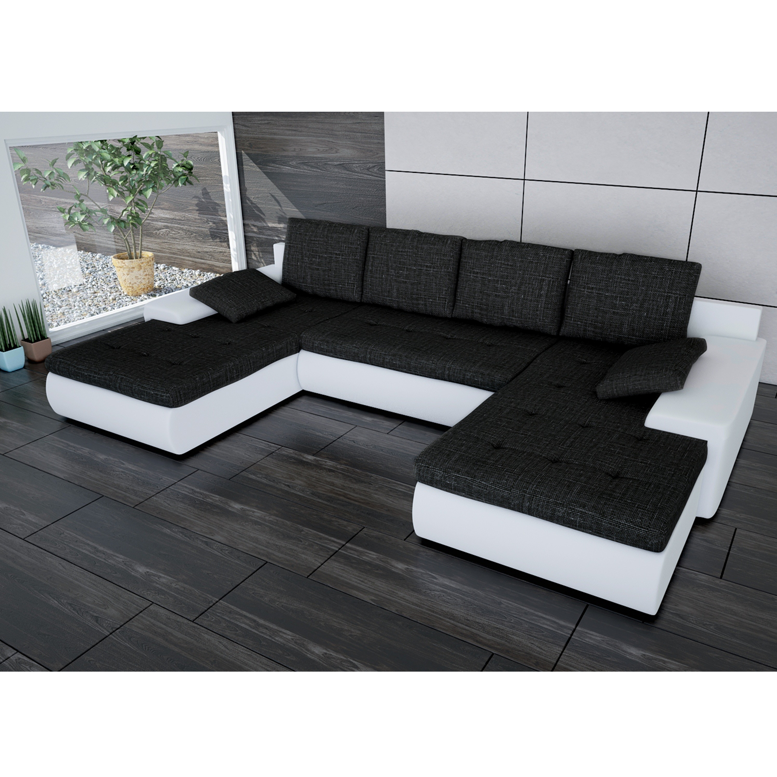 sofa linosa wei schwarz ecksofa von jalano wohnlandschaft u form schlaf couch ebay. Black Bedroom Furniture Sets. Home Design Ideas