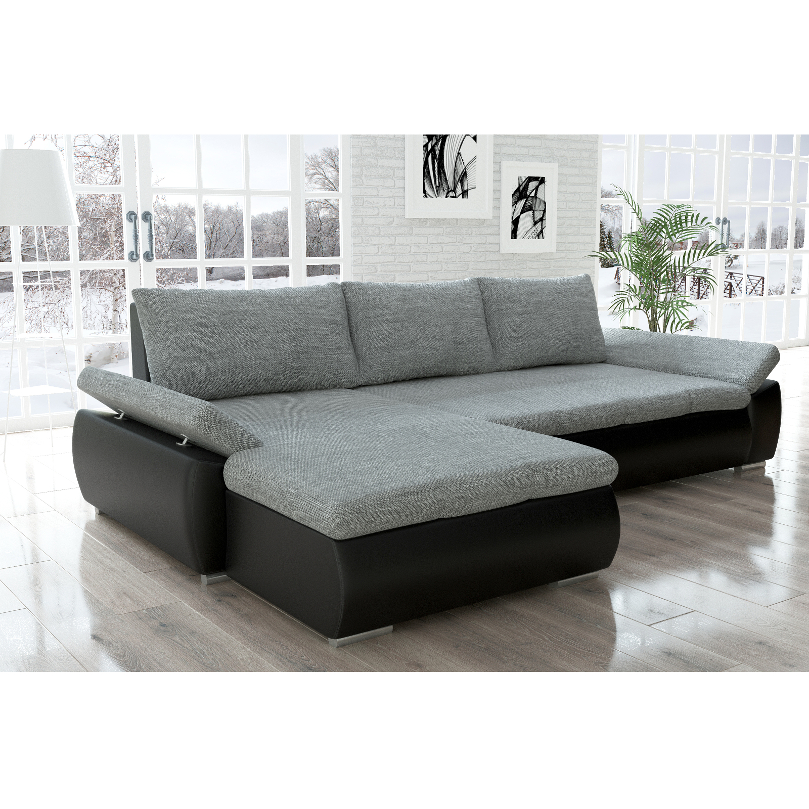 sofa kreta schwarz grau ecksofa von jalano schlafsofa l form schlafcouch ebay. Black Bedroom Furniture Sets. Home Design Ideas