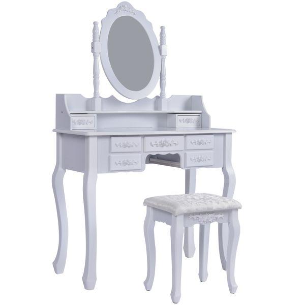Jalano Schminktisch Roma weiß Frisiertisch Set Schminkkommode mit Spiegel schwenkbar inkl Hocker