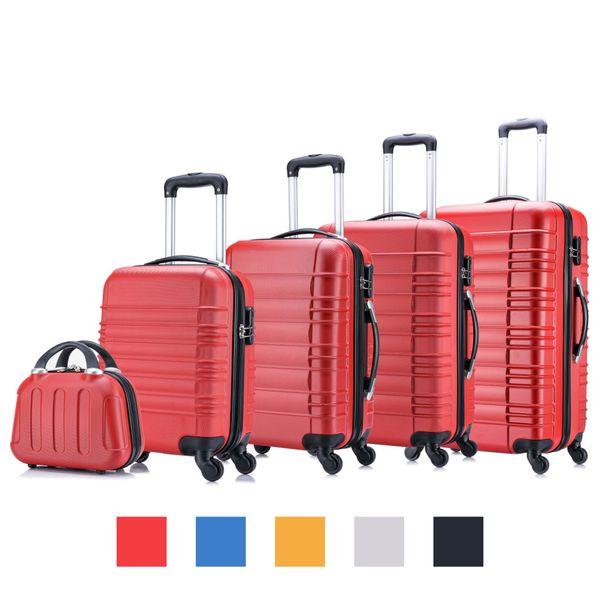 Kit of 5 hard shell cases by Jalano, when empty all the different sizes fit into one another, in four different colors