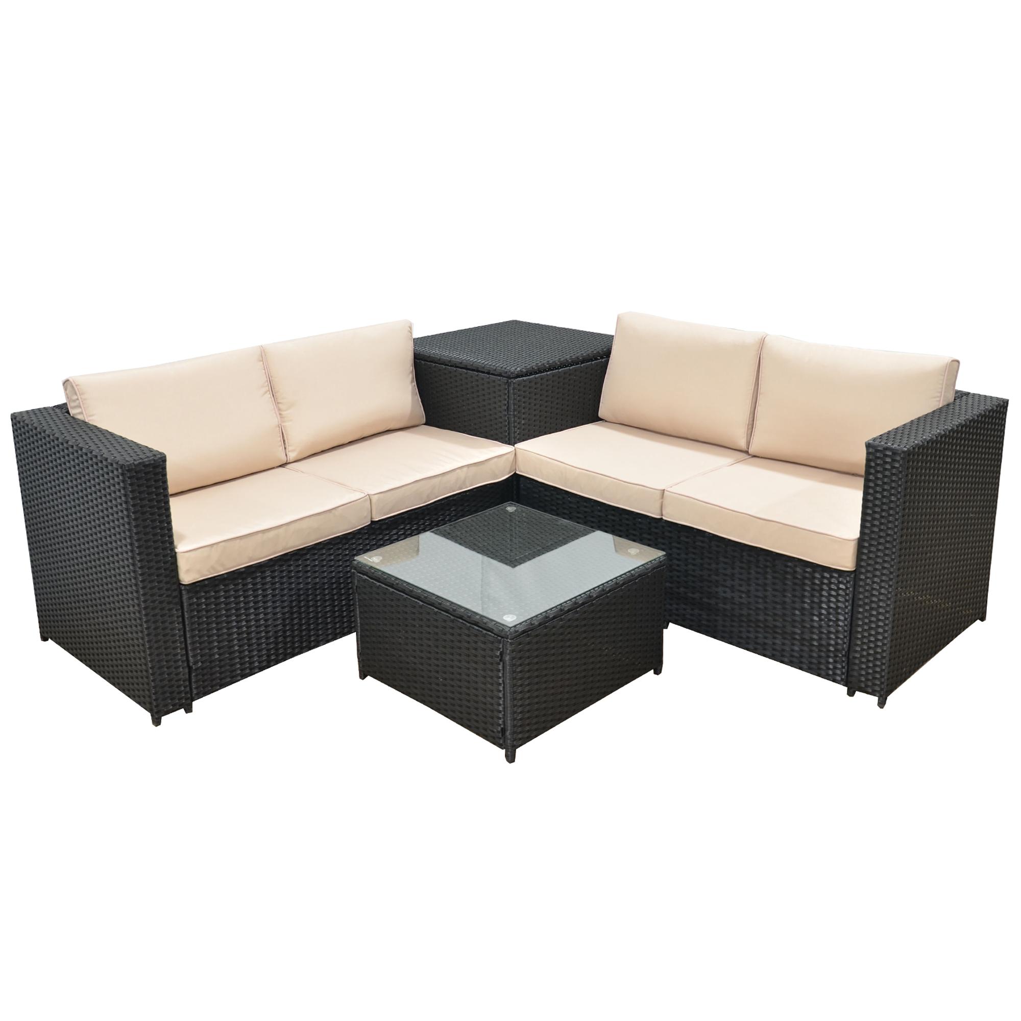Jalano poly rattan lounge set sm1 gartenm bel for Rattan garten lounge gunstig