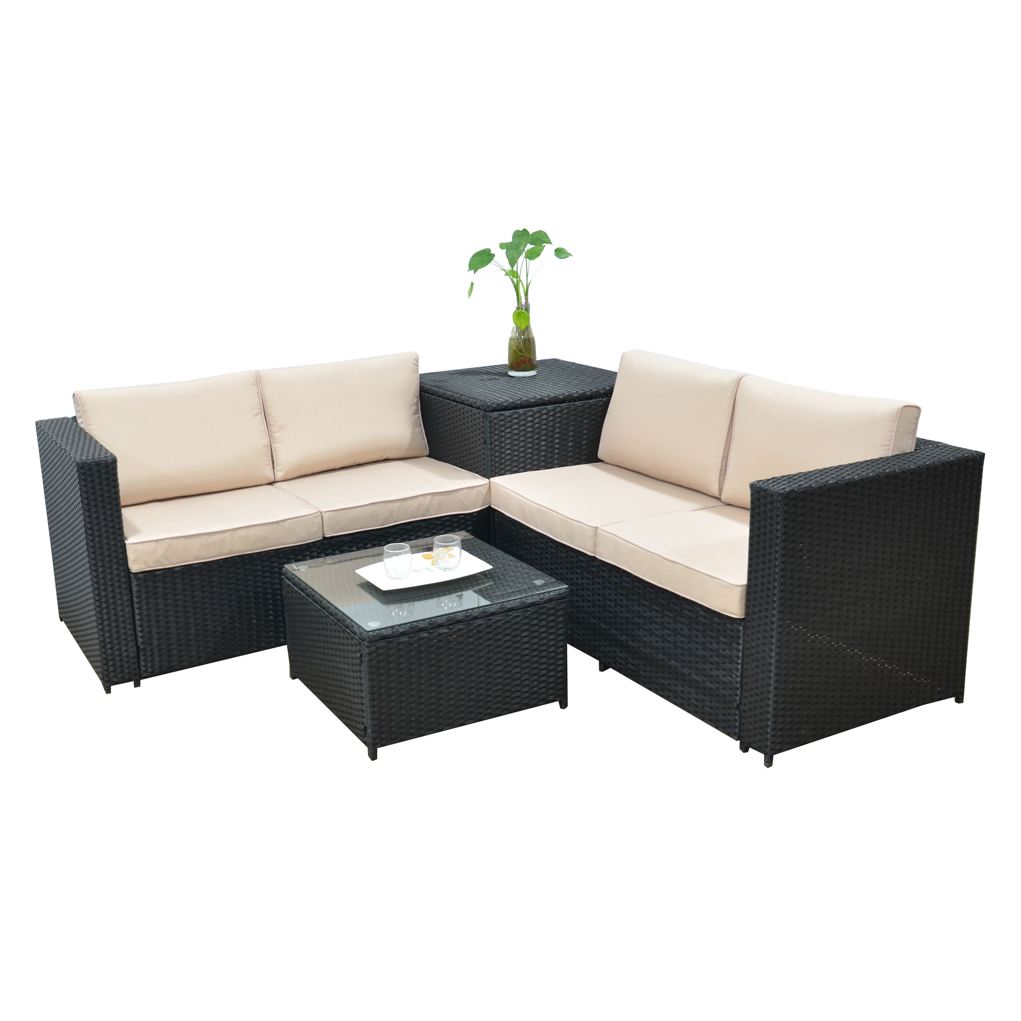 jalano poly rattan lounge sm1 set gartenm bel gartengarnitur anthrazit. Black Bedroom Furniture Sets. Home Design Ideas
