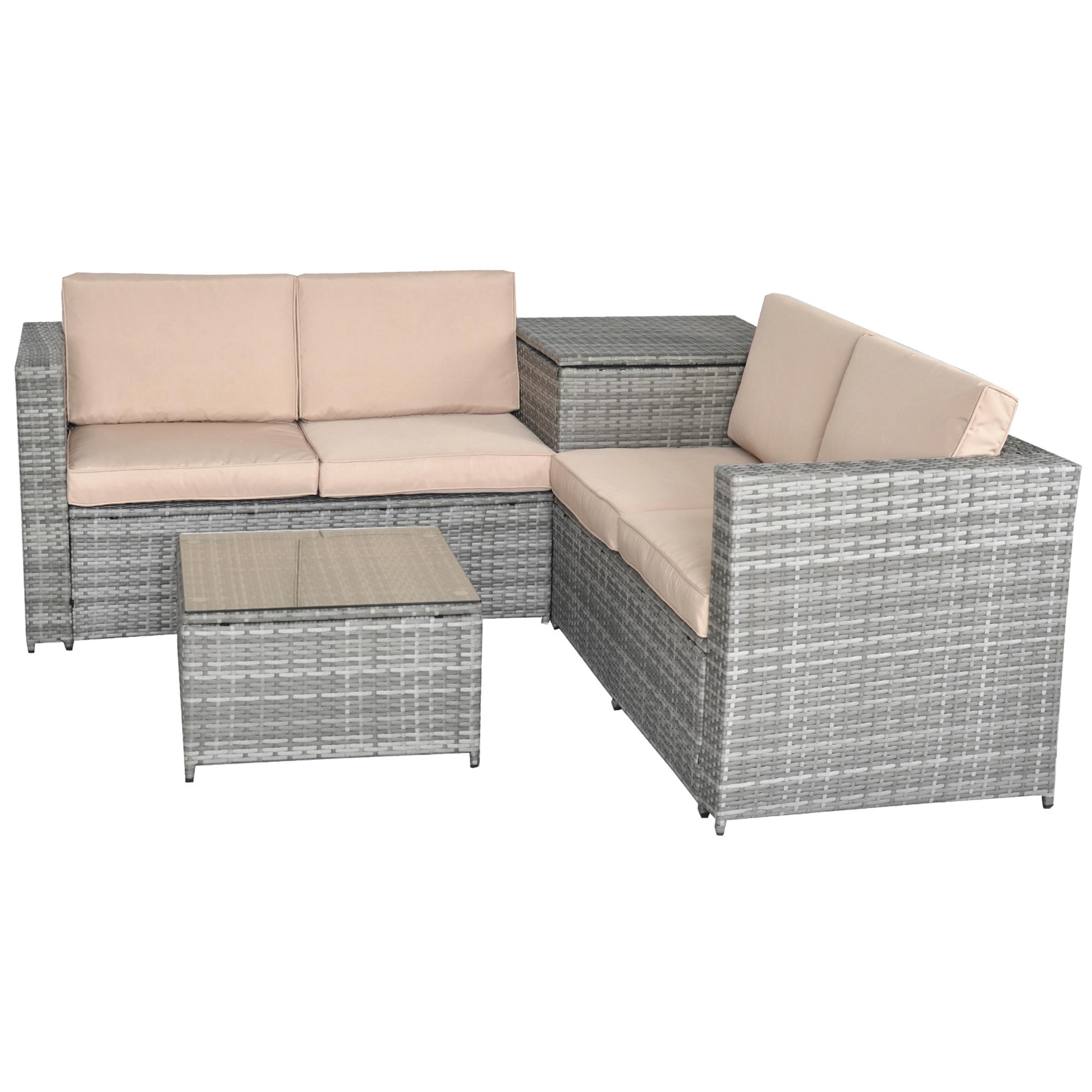 Jalano poly rattan lounge set gartenm bel gartengarnitur 4 for Polyrattan lounge set grau