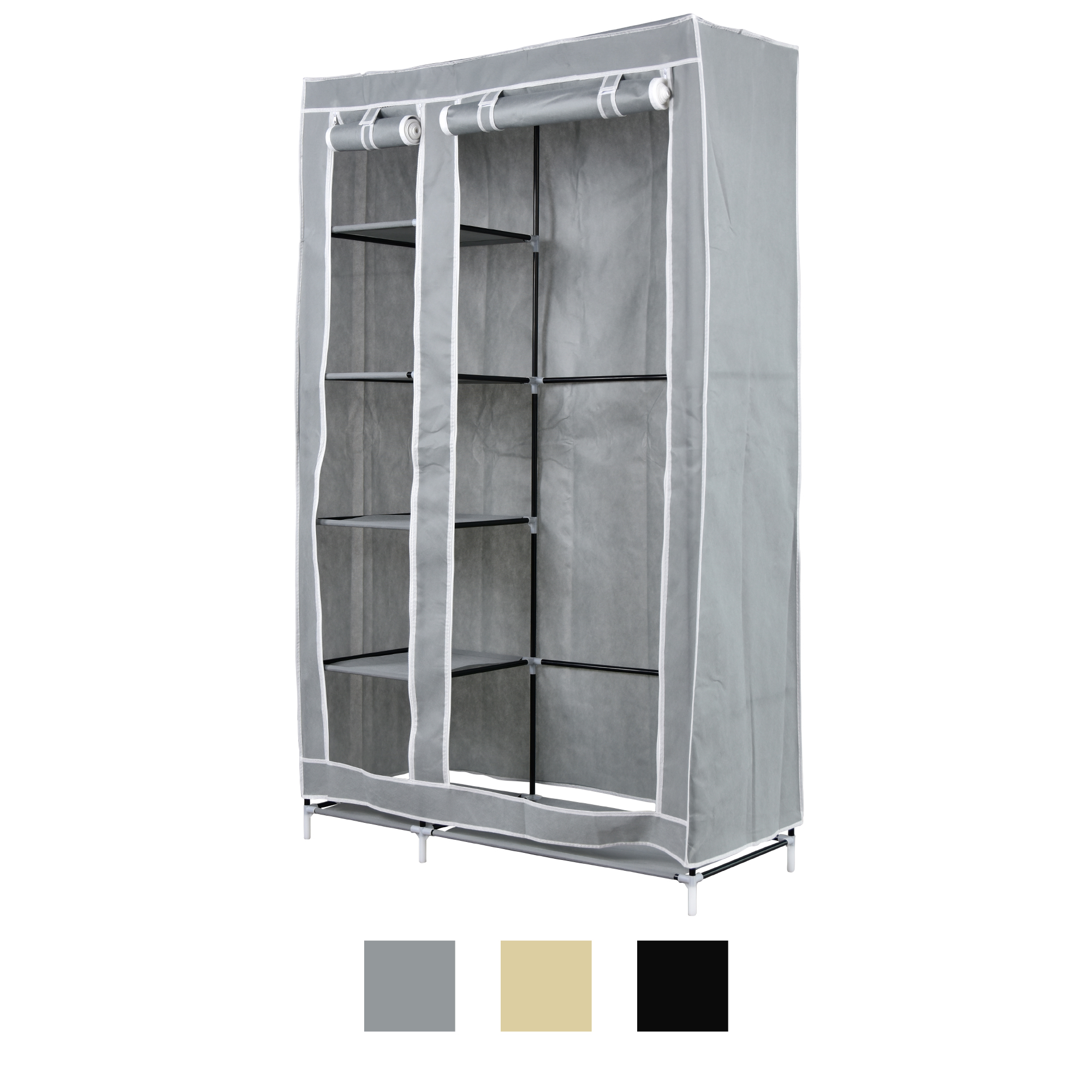 xl stoffschrank kleiderschrank faltschrank regal faltbar schrank 110x45x175cm ebay. Black Bedroom Furniture Sets. Home Design Ideas